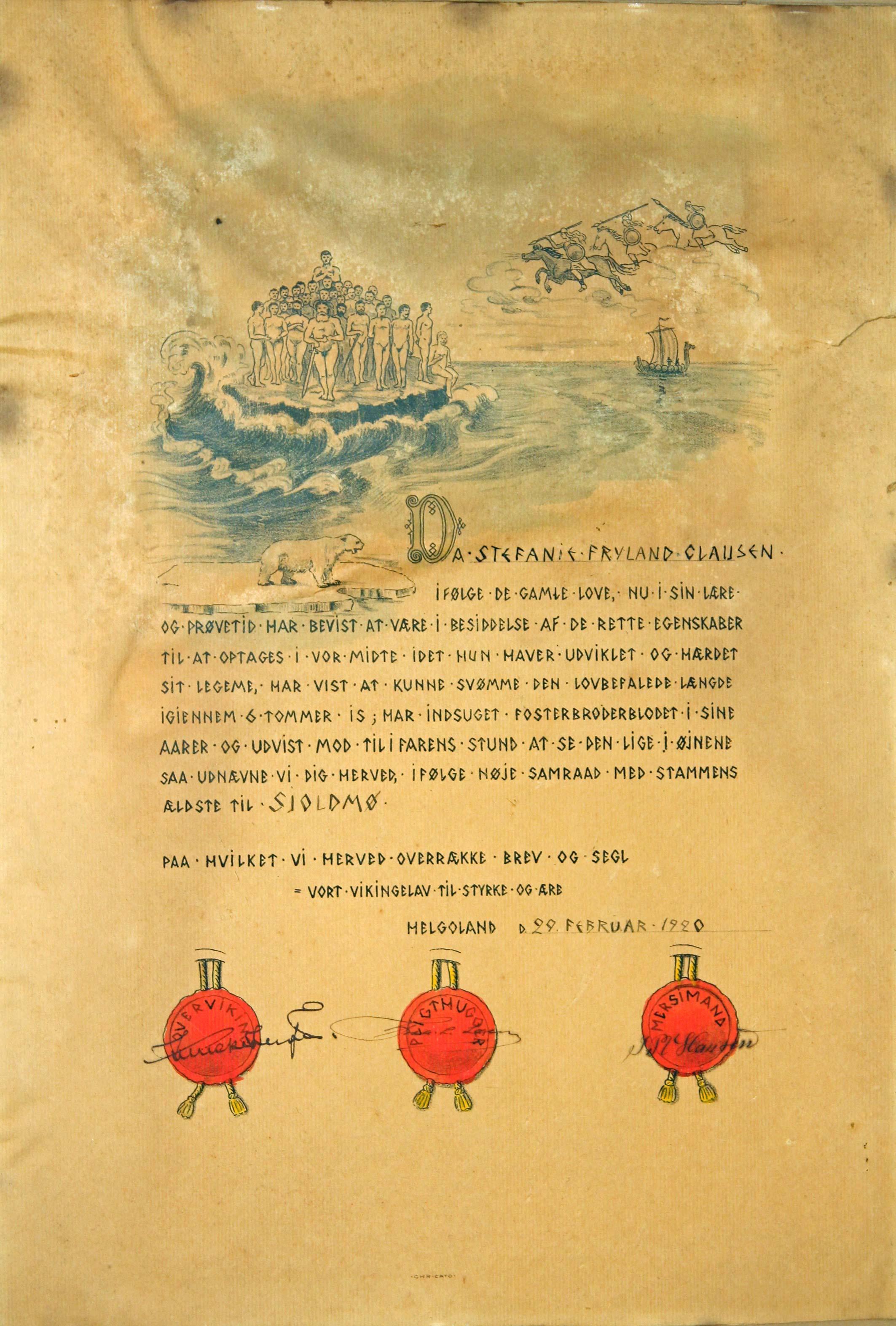 Shield Maiden / Skjoldmø Certificate - 1920 - Stefanie Fryland Clausen