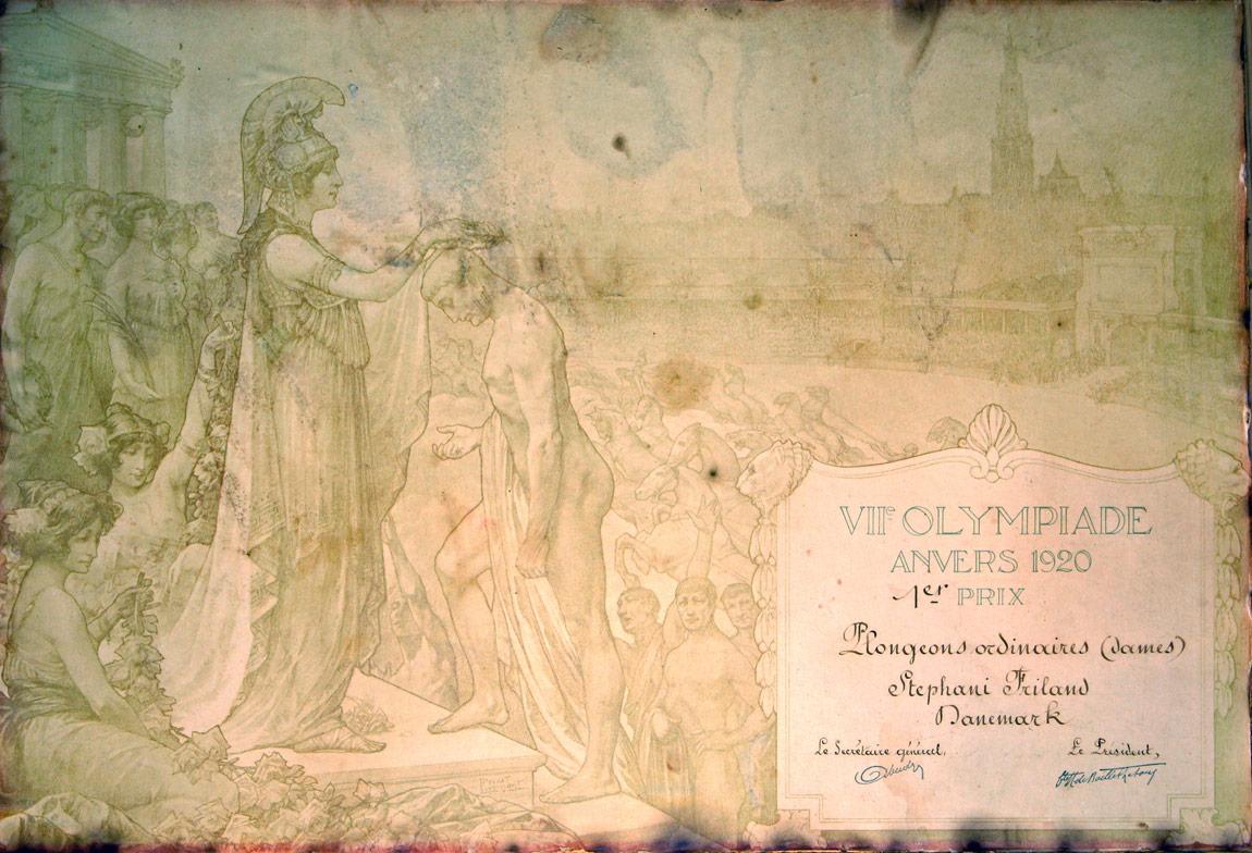 Stefanie Fryland Clausen - Olympic Certificate - 1920 - Antwerp - Belgium
